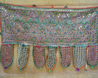 Hand Embroidered Wall Tapestry, Mirror Work Window Door Valance, Embroidery 1