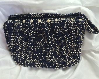 Vintage Navy Blue and White Beaded Purse