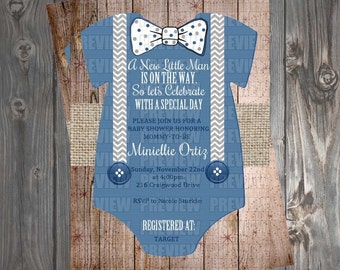 Baby Boy Onesie Invitation