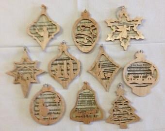 Christmas Carol Silhouette Ornament Set - Maple