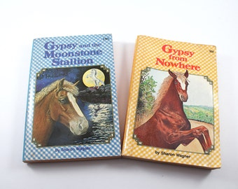 "Vintage horse stories - ""Gypsy From Nowhere"" (1972) & ""Gypsy and the Moonstone Stallion"" (1980) - Sharon Wagner, vintage books, illustrated"