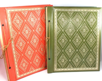 Vintage scrapbook or photo album, your choice of cover color! 1970s orange or green, gold detailing, large, empty, retro, mod, 36 pages