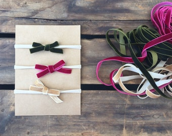 Vintage velvet bow headband Set of 3