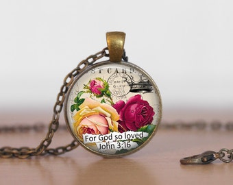 Christian Necklace Inspirational Jewelry Rose Necklace For God so loved John 3:16 Motivational Gift Faith Jewelry Religious Necklace