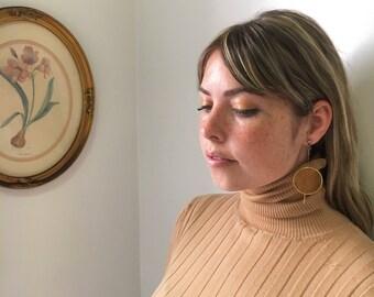 Sixties Mod Drop Earrings with Orange Circle