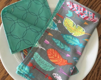 Modern Feather Lunchbox Napkins (Set of 2)