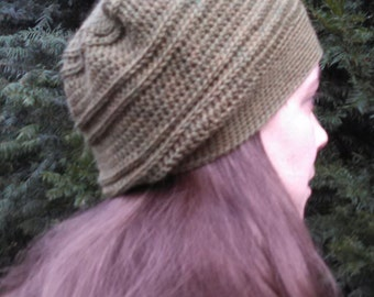 Crocheted Wool Slouchy Hat