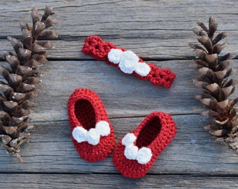 Baby Headband and Shoe Set, Crochet Baby Headband and Shoes, Christmas, Special Occasion, Photo Prop, Gift
