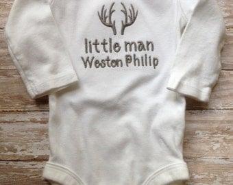 Little Man Onesie; Baby Boy Onesie; Country Onesie; Antlers Bodysuit; Personalized Boy Onesie