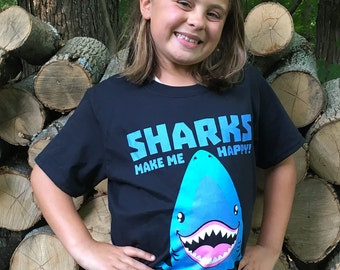 Sharks Make Me Happy T-shirt - YOUTH