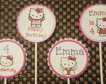 Pink Kitty Cupcake Toppers