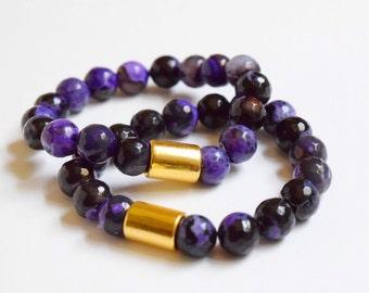 Purple/Black Faceted Agate Beaded Bracelet