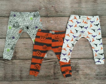 Halloween Leggings/ Baby, Toddler, Kids Leggings/ Bat Leggings/ Spider Leggings/ Pumpkin Leggings / Halloween outfit
