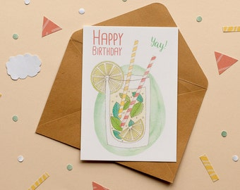 Happy Birthday - Mojito - Print Postcard