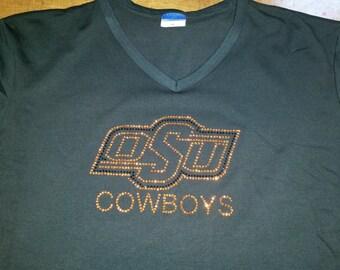 Oklahoma State OSU Cowboys  Applique Bling Rhinestone