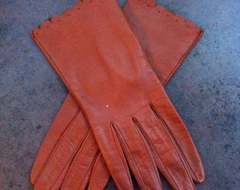 Vintage Leather Gloves - Brown Womens Gloves - Driving Gloves - Gift for Her