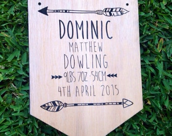 Engraved Timber / Wooden Baby Boy Announcement Plaque with Arrow design. Nursery Decor. New Baby Gift. Custom Personalised Decor.