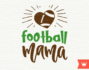 Football Mama SVG Decal Cutting File - Football Mom Cheer Mother Love Heart T-Shirt Iron On Transfer for Cricut Explore, Silhouette Cameo