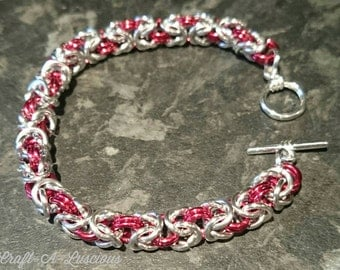 Byzantine Chainmaille Bracelet <Silver/Red>