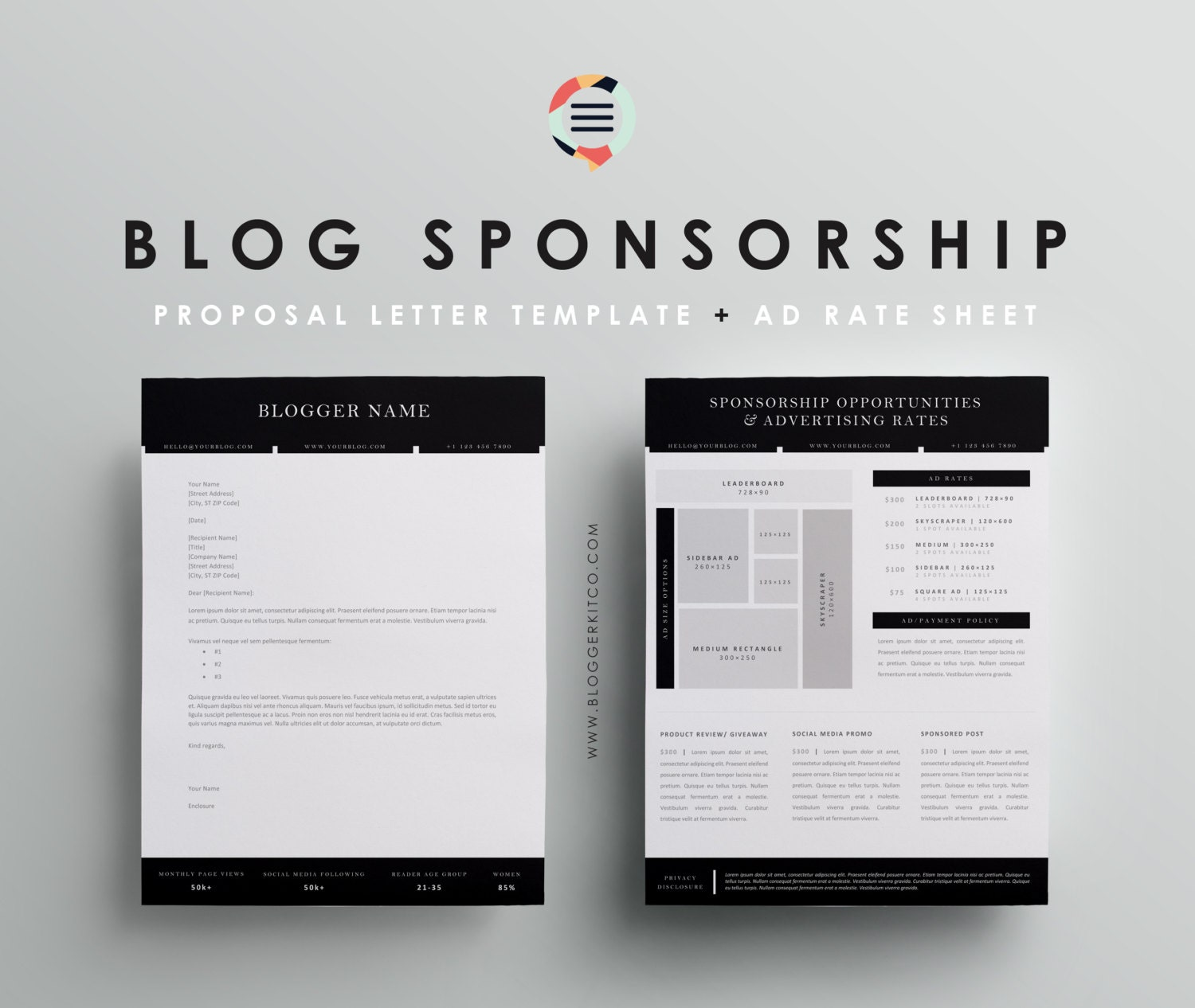 Blog Sponsorship Proposal Letter Template Ad Rate Sheet – Rate Sheet Template