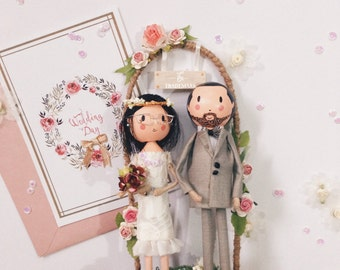 Wedding doll, Wedding dolls gift, Wedding cake topper, Wedding couple, Bride, Groom, Wedding ceremony, Cake topper figurine
