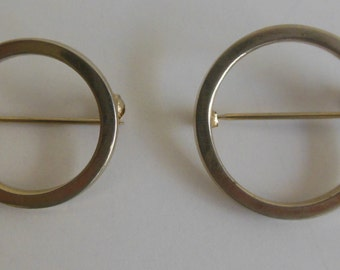 Set of 2 Vintage Circle Pins