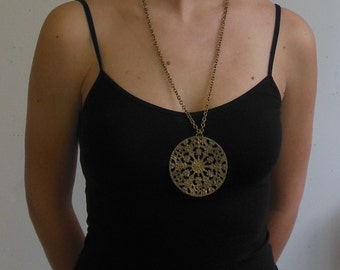 Vintage Inspired Large Bronze Color Medallion Necklace