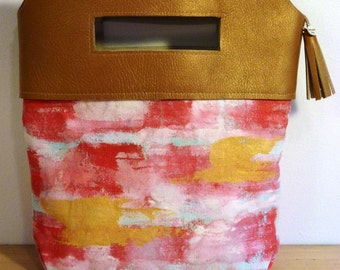 Handmade Leather and Canvas Clutch