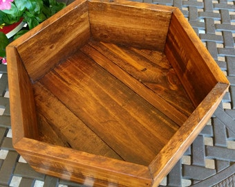 Medium Hexagon Shelf, Storage Container, Planter made from Reclaimed and Repurposed Rustic Pallet Wood