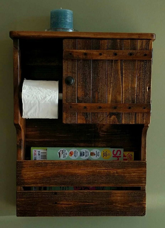 Magazine Rack Toilet Paper Holder And Cabinet With Shelf Made