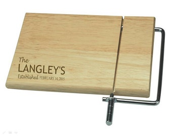 Personalised Rectangle Cheese Slicer Board, Family Name Design