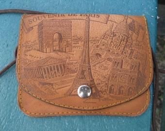 """Vintage genuine leather """"SOUVENIR DE PARIS"""" coin purse"""