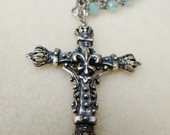 Ornate Filigree Silver Plated Crucifix Assemblage Necklace - NRU213