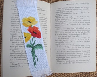 Cross stitch embroidered bookmark - Poppies