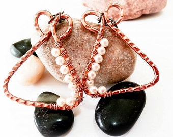 Handmade wire earrings with glass pearls