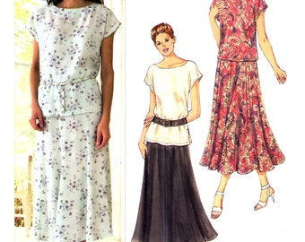 2011 Kwik Sew 3233 Bateau Neckline Top with Cap Sleeves and Flared Panel Skirt, Uncut, Factory Folded, Sewing Pattern Multi Size XS-XL