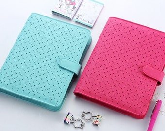 A5 Planner Binder Aqua or Pink Perforated A5 Leather Notebook, Day Daily Weekly Monthly Bullet Journal Kikki K Erin Condren Filofax FBASAP
