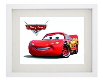 LIGHTNING MCQUEEN PERSONALISED Framed Print Art - Disney's Cars Collection