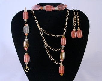 Asymetrical Pink Watermelon Tourmaline Set