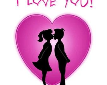 "Cross Stitch Pattern ""I LOVE YOU"""