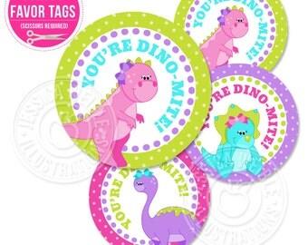 Girly Dinosaur Printable Party Favor Tags, Cupcake Topper, Printable Dinosaur Circle Tags, Printable Party Circles, Dinosaur Party Printable