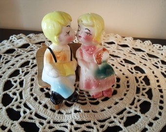 """Couple in Love on Bench """"KISSING"""""""