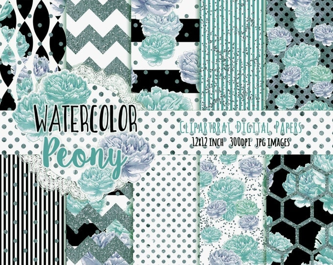 TEAL WATERCOLOR FLORAL Digital Paper Pack Black & White Commercial Use Backgrounds Peony Stripe Shabby Chic Flower Scrapbook Paper Pack