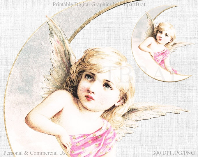 BEAUTIFUL ANGEL Clipart Commercial Use Clipart VICTORIAN Angel Die cut Clipart Angel Fabric Transfer Clipart Pink Angel Graphic Jpg/Png