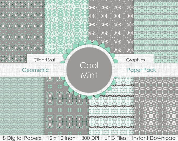 COOL MINT Digital Paper Pack Commercial Use Background Paper Gray & Mint Tribal Digital Backgrounds Geometric Arrow Digital Paper Pack