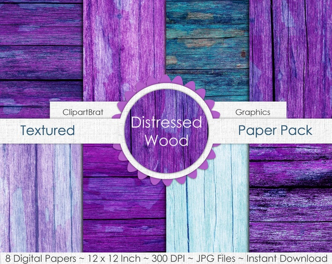 DISTRESSED WOOD Digital Paper Pack Commercial Use Digital Background Teal Aqua Purple Wood Grain Digital Paper Painted Barn Wood Paper Pack