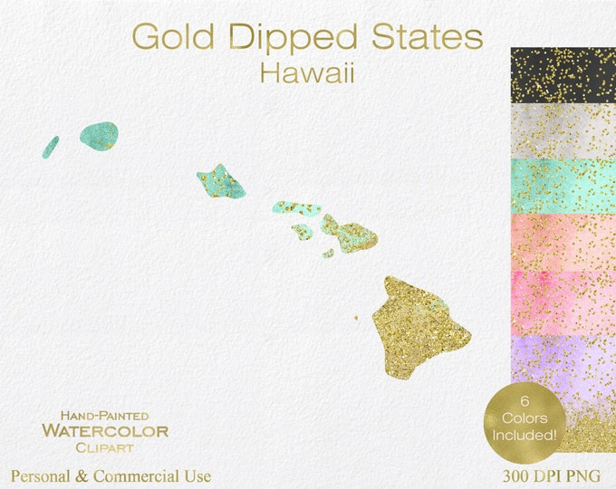 WATERCOLOR & GOLD HAWAII Clipart Commercial Use Clipart United States Shape Wedding Clipart Gold Confetti Dust Hawaii State Clip Art