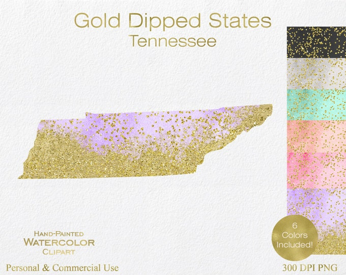 WATERCOLOR & GOLD TENNESSEE Clipart Commercial Use Clipart United States Shapes Wedding Clipart Gold Confetti Dust Tennessee Clip Art