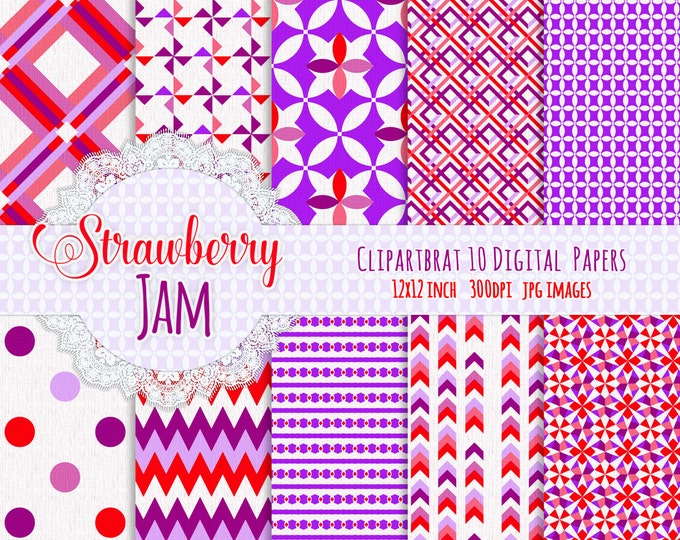 PURPLE & PINK Digital Paper Pack Commercial Use Digital Background Papers Strawberry Jam Paper Pack Geometric Printable Background Papers