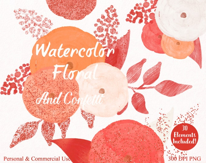 CORAL WATERCOLOR FLORAL Clipart Commercial Use Clipart 30 Watercolor Rose Autumn Pumpkin Metallic Copper Confetti Watercolor Floral Clip Art